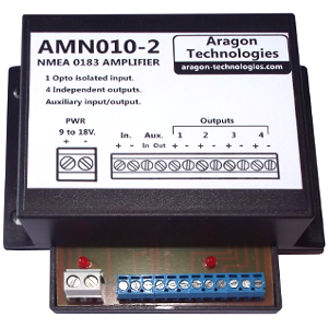 The AMN010-2 is a high efficiency NMEA amplifier. It corrects and amplifies the NMEA signal and send it on 4 independent NMEA outputs.