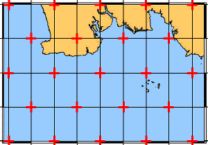 n a nautical chart it is very easy to apply a correction grid since it suffices to create a correction point at each intersection of parallel and meridian