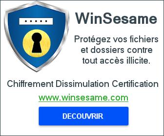 WinSesame sécurité informatique protection des données chiffrement dissimulation certification.